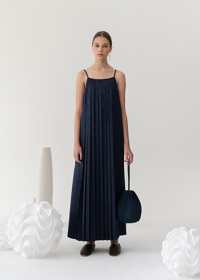 917 Pleated Slip Dress(Navy/Brick)