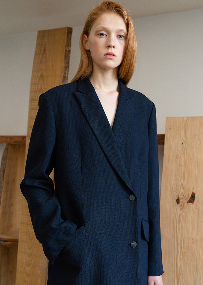917 Royal Navy Silky Wool Classic Coat