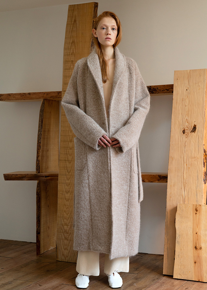 917 Beige Shawl Collar Mohair Coat