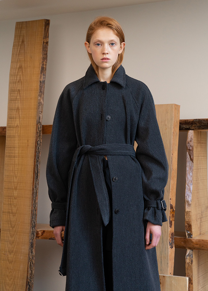 917 Charcoal Belted Boucle Coat