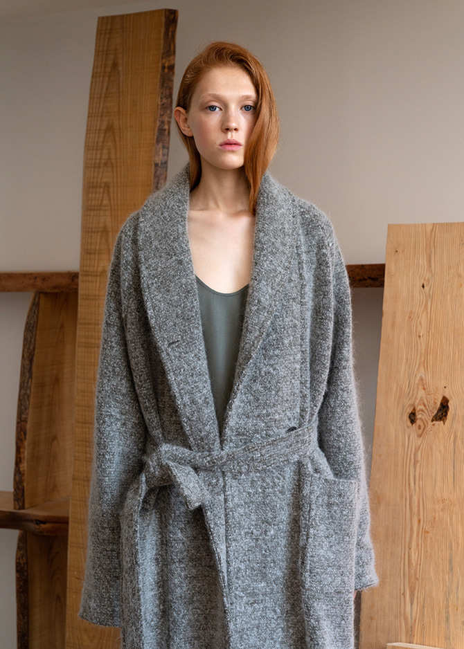 917 Olive Shawl Collar Mohair Coat
